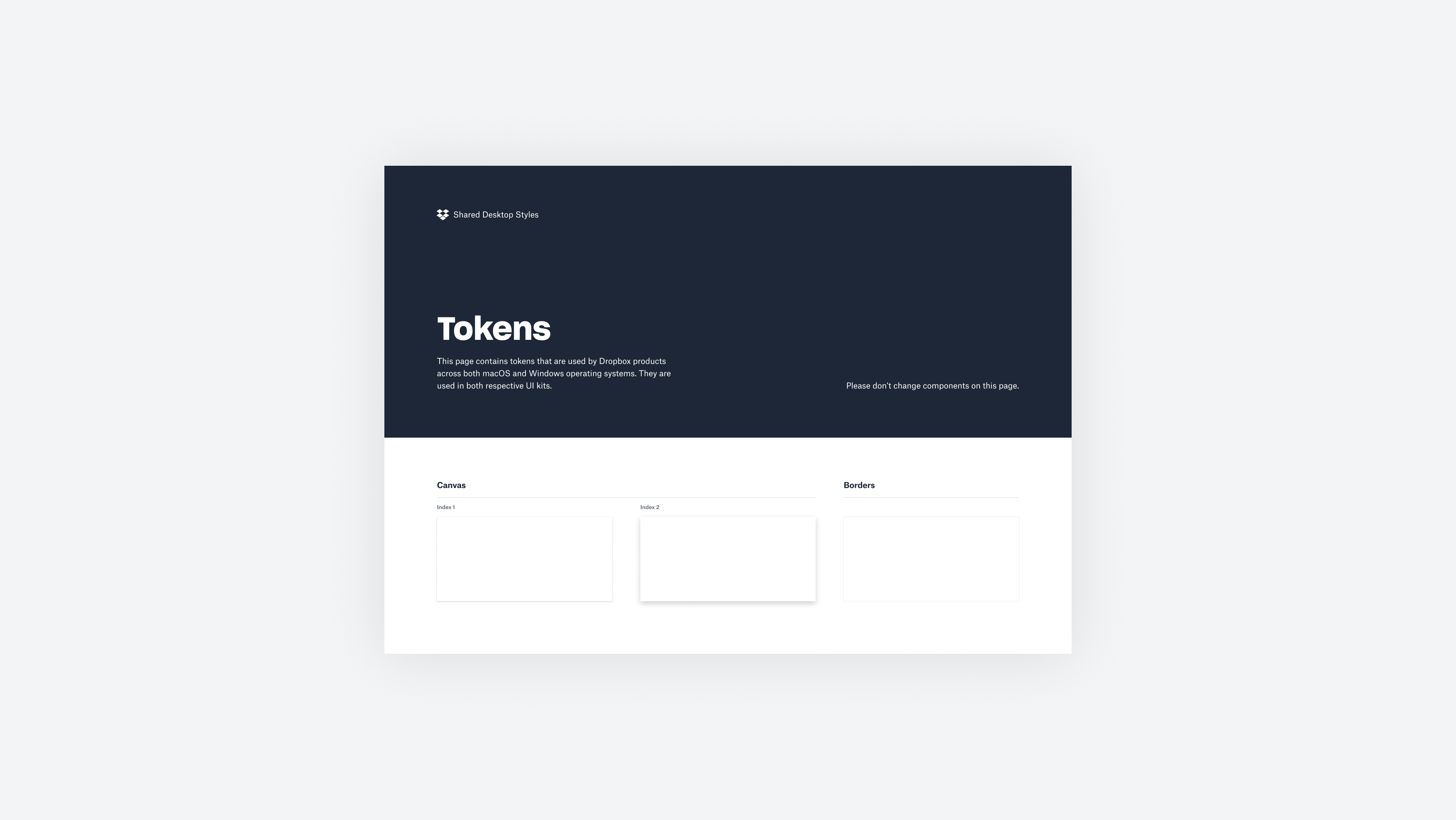 Tokens from Shared Desktop Styles.