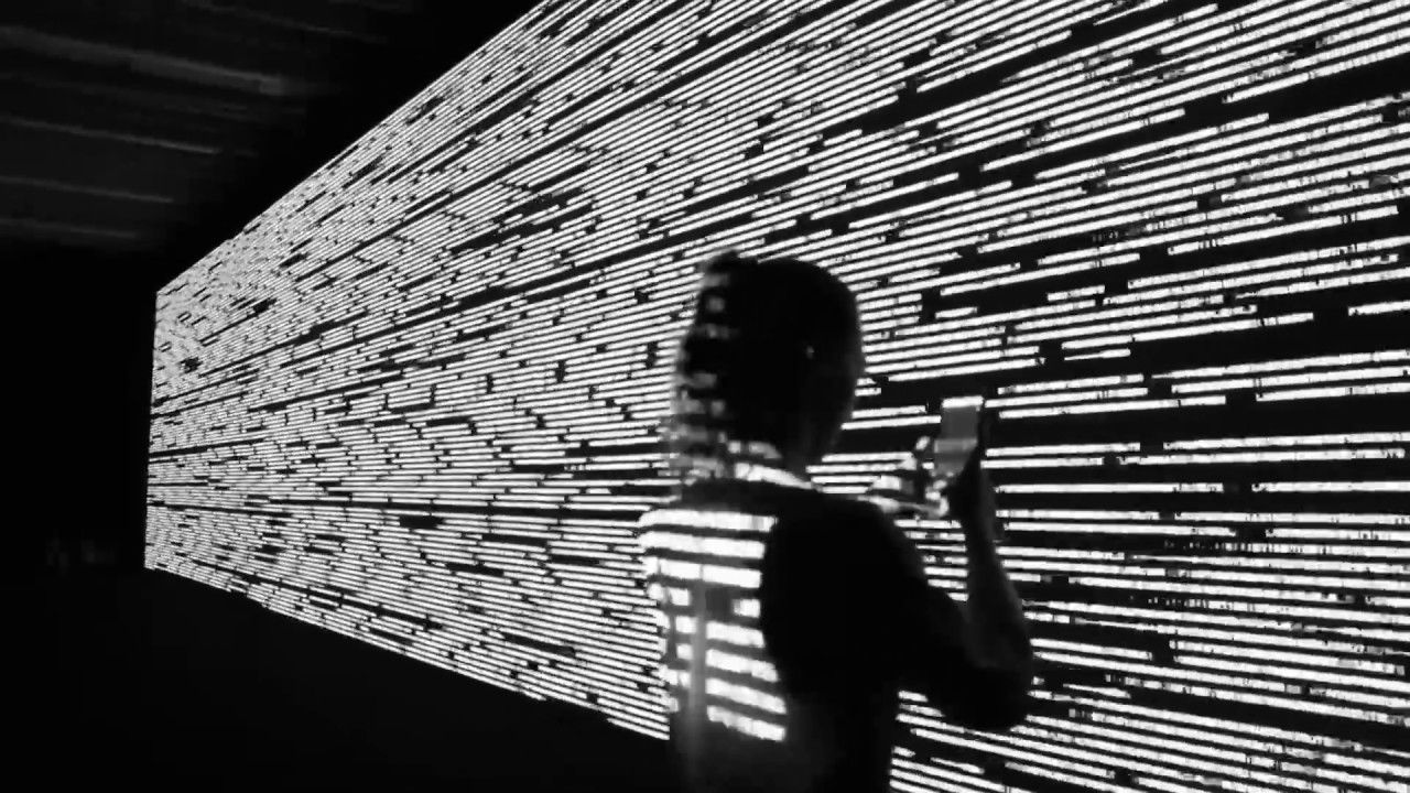 code-verse, an interactive installation by artist Ryoji Ikeda, at the Taipei Fine Arts Museum in Taiwan