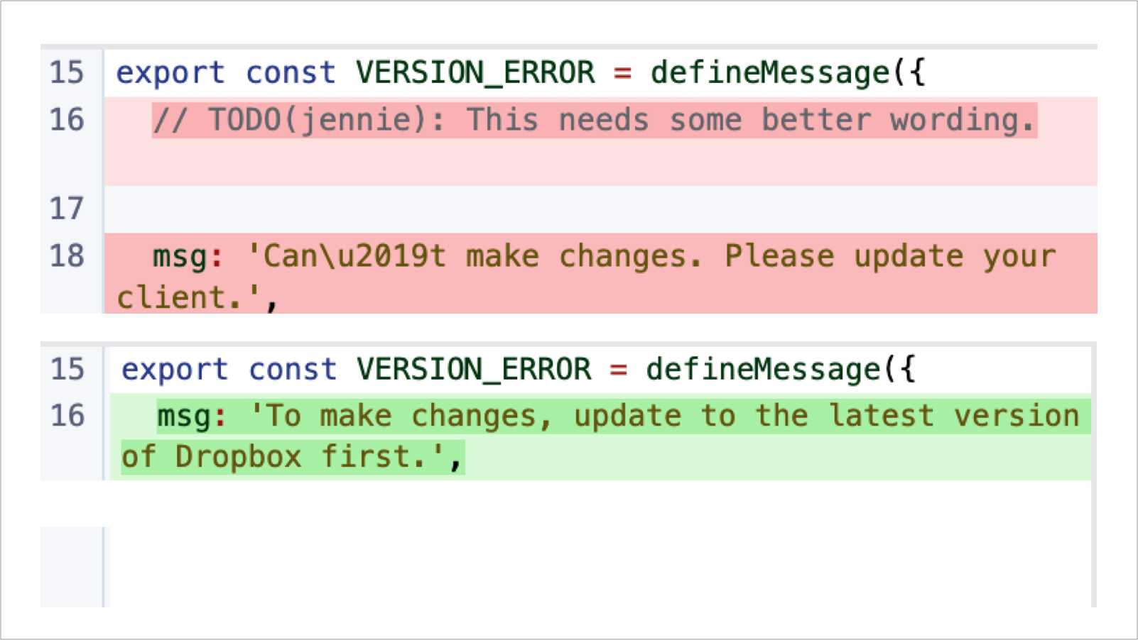 The engineer tags me for help (red) and I update the string directly in the code (green)