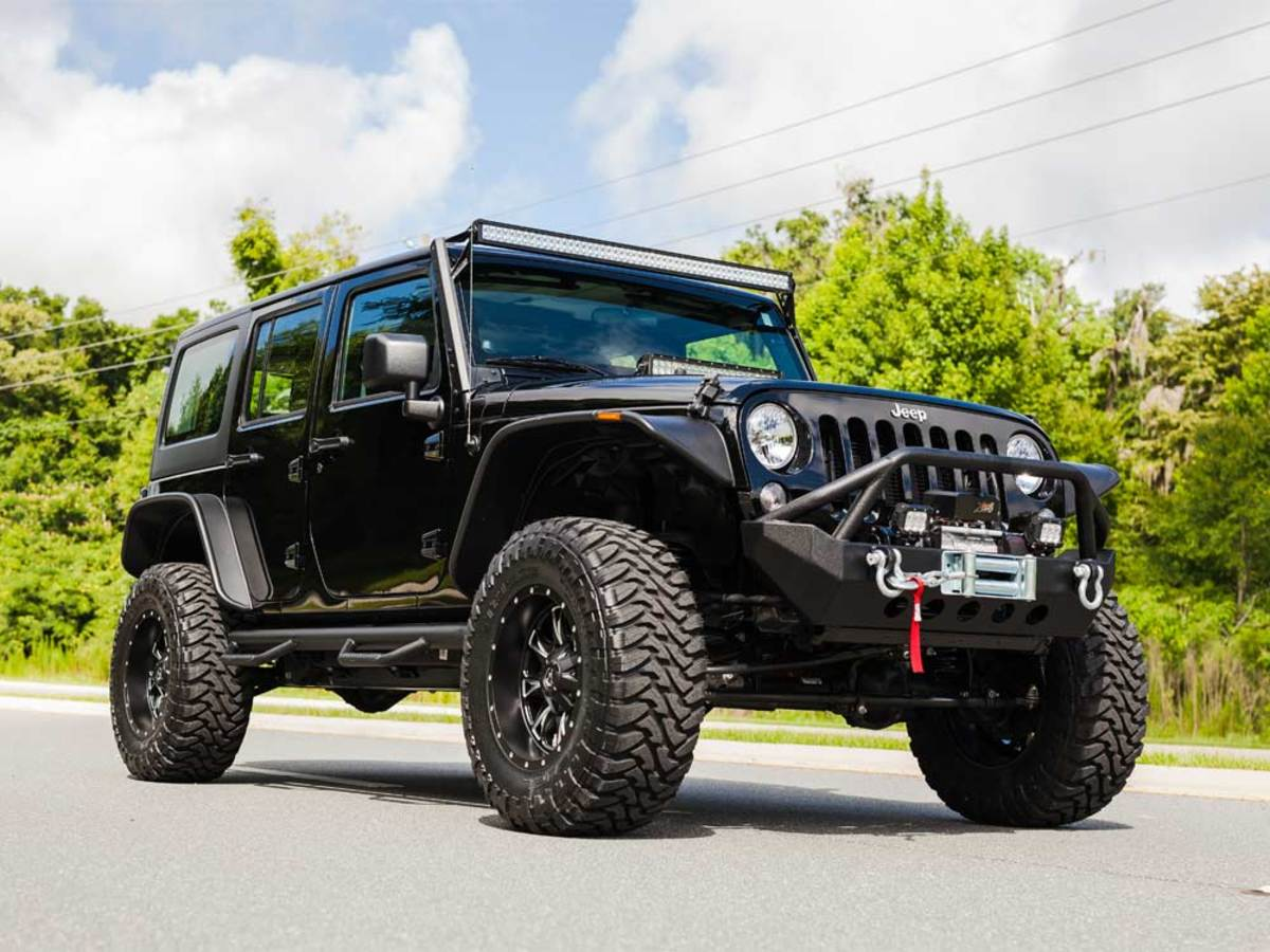 2014 Wrangler W Pro Comp Lift Kit On 18x10 Wheels Jeep With Fuel Bushwacker Flat Style Fender Flares N Fab Black Hooped Nerf Bars