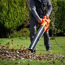 Contractor using a leaf blower