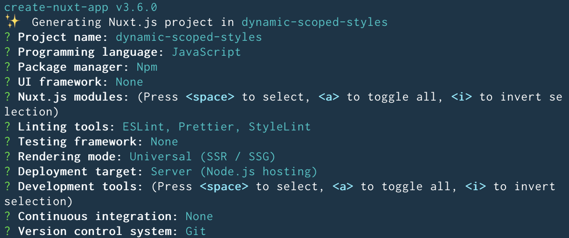 Dynamic scoped styles project Nuxt configs