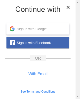 Sign in with Google, Facebook, or Email