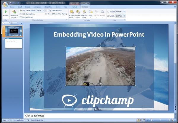 embed videos in PowerPoint, prepare them using clipchamp
