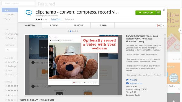 clipchamp webcam recording and video conversion app in the Chrome Web Store