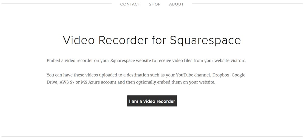squarespace video recorder - page preview