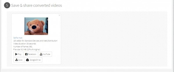 "the processed video appears in the ""Save & share converted videos"" section"