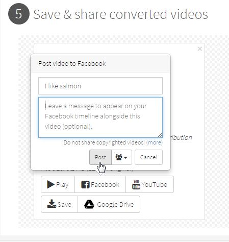 share your video on Facebook or YouTube