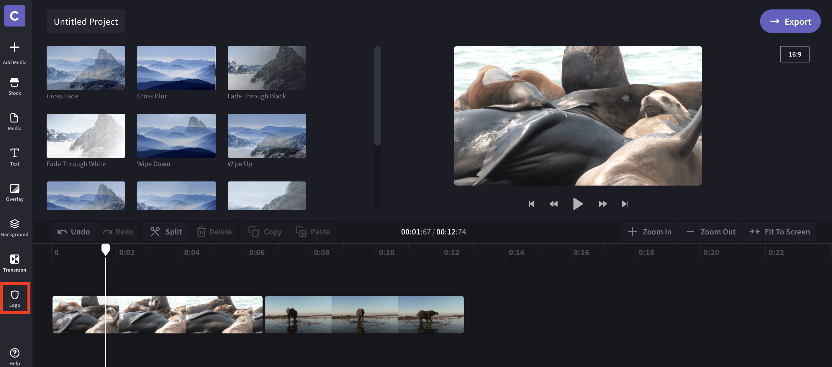 Clipchamp Create select video transition
