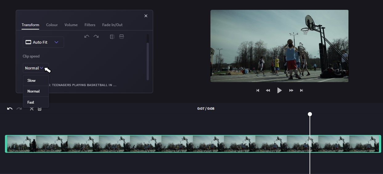 Slow down video or speed up video with this editing window