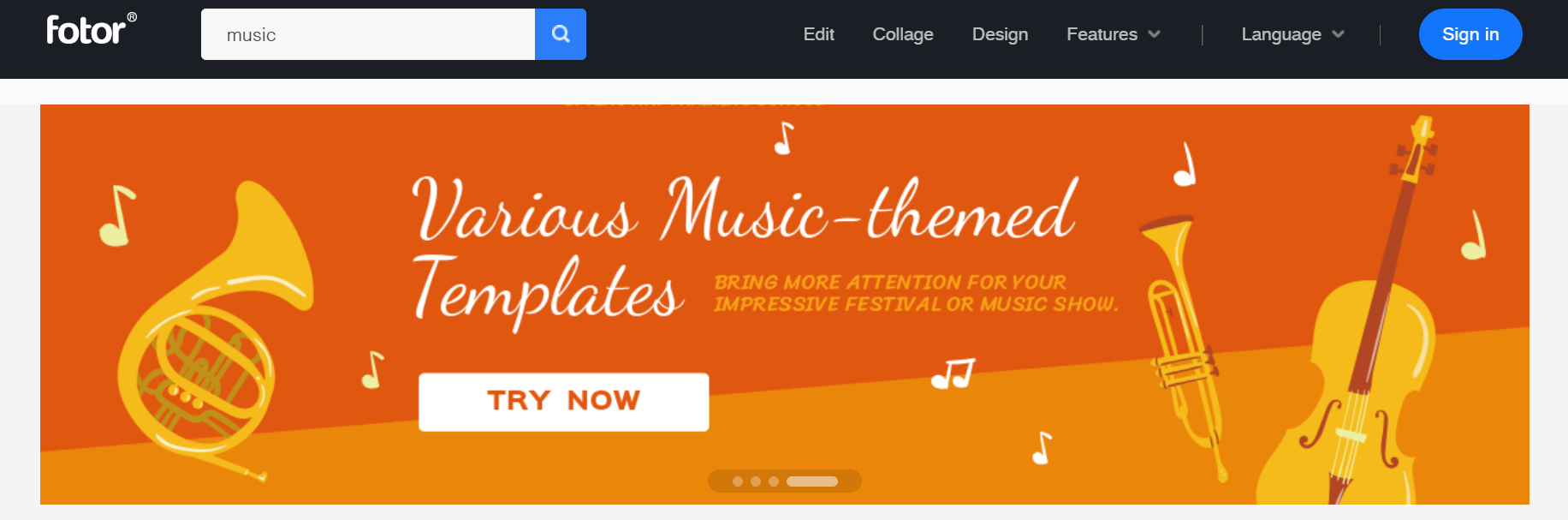 Various music-themed templates from Fotor