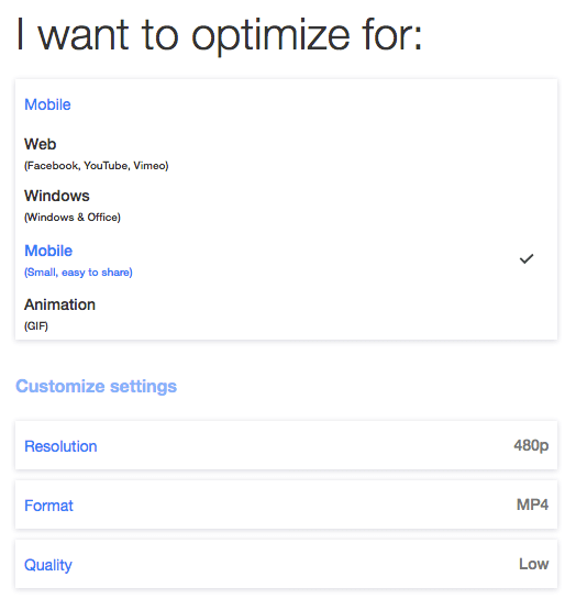 Optimize for mobile on Clipchamp