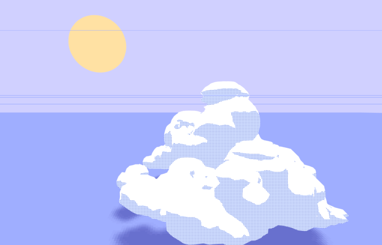 A procedurally generated cloud
