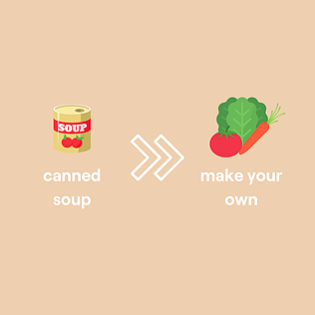 Simple graphic of swapping canned soup with a homemade soup
