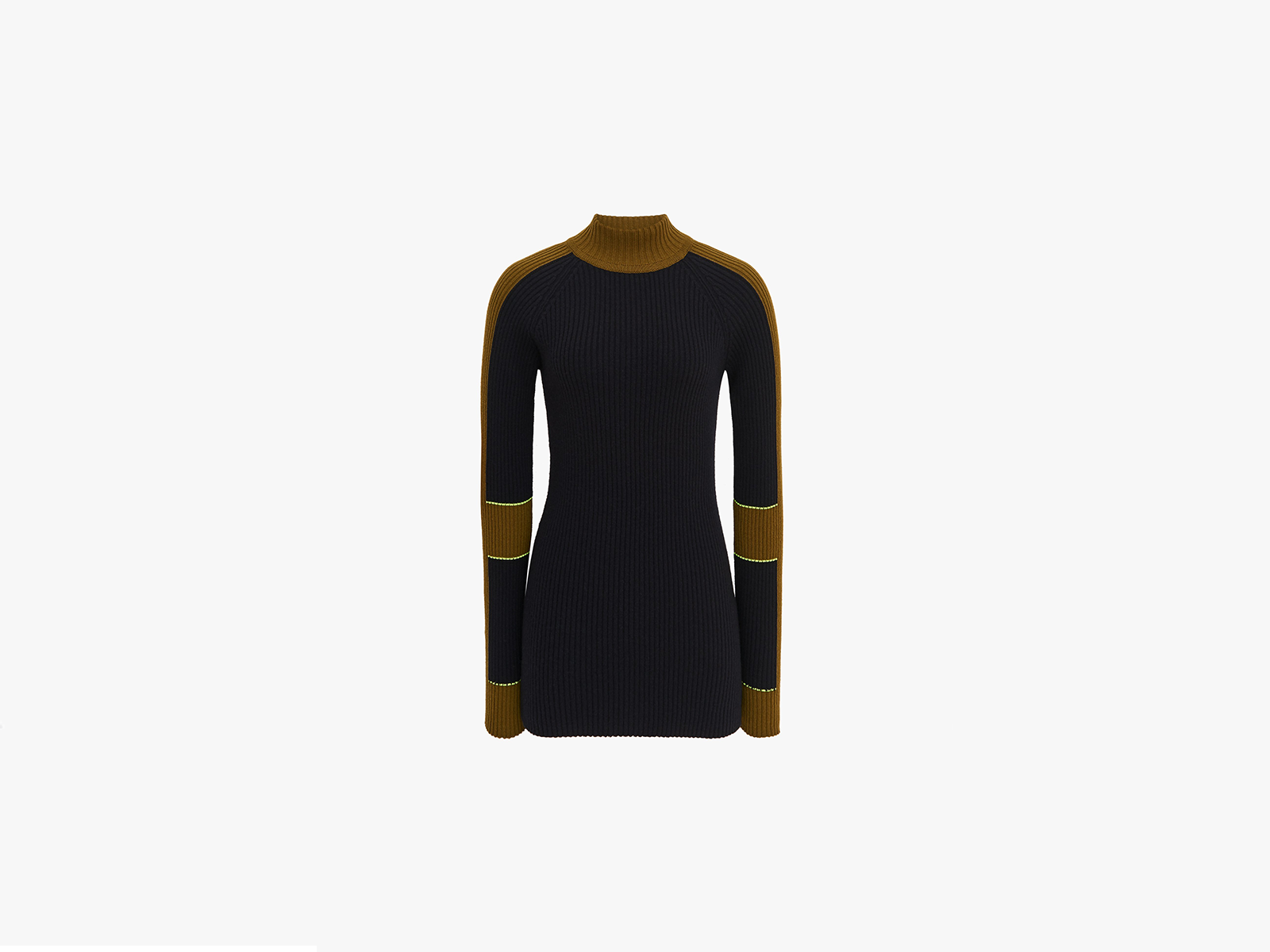 Victoria Beckham Colour Block Mock Neck Jumper In Navy/Olive Green