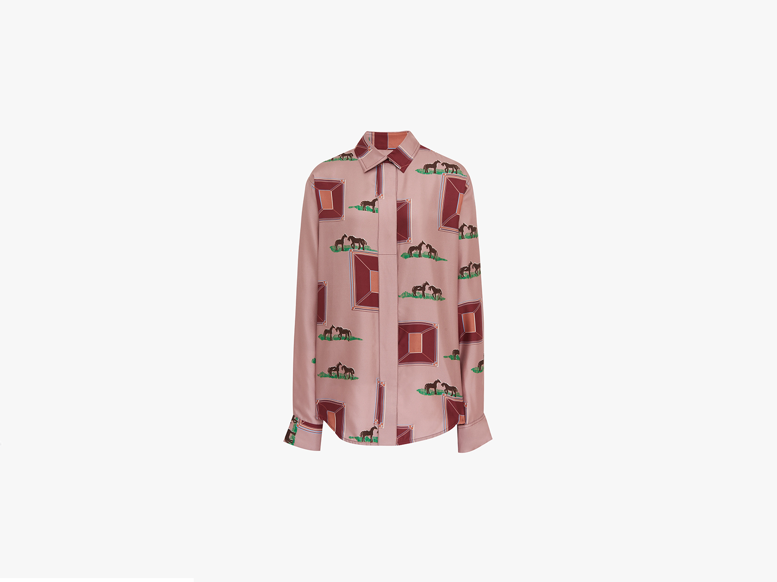 Victoria Beckham Oversized Blouse In Horse Print