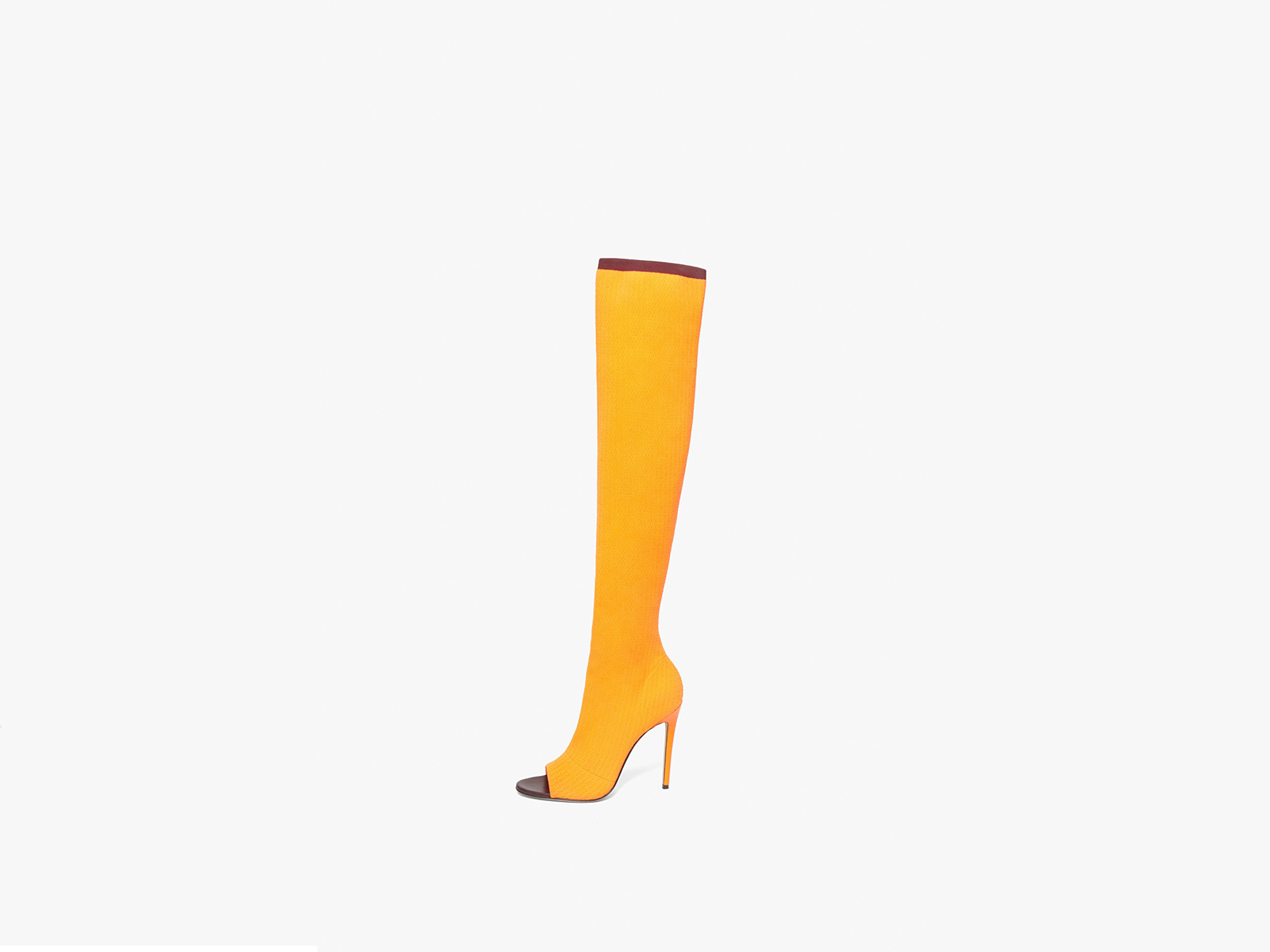 Victoria Beckham Jasmin 115MM Knit Boots In Bright Orange