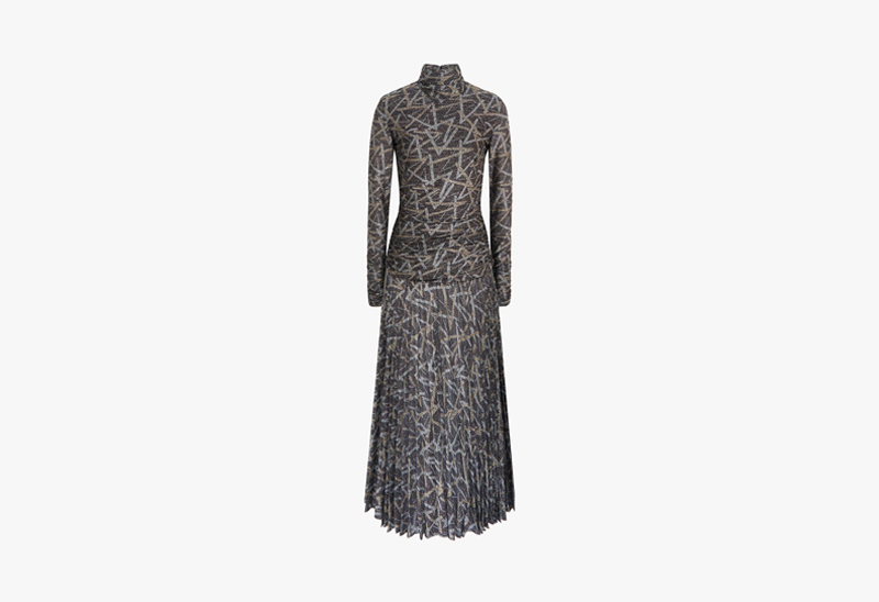 Victoria Victoria Beckham Pleated High-Neck Dress In Lurex Print