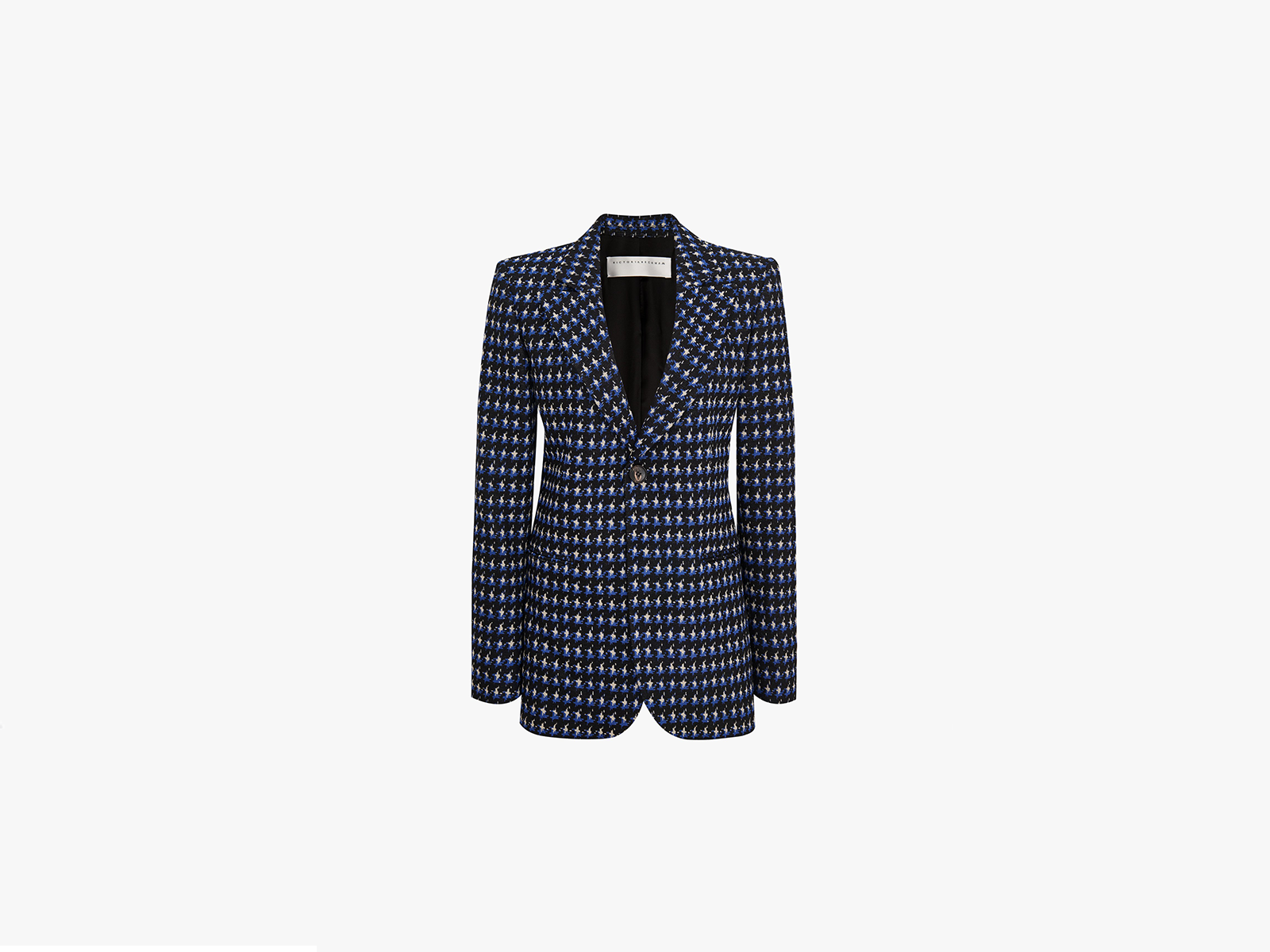 Victoria Beckham Single Breasted Fitted Jacket In Cobalt Black