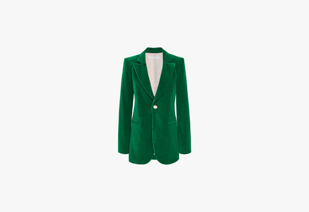 Victoria Beckham Single Breasted Velvet Jacket In Emerald Green