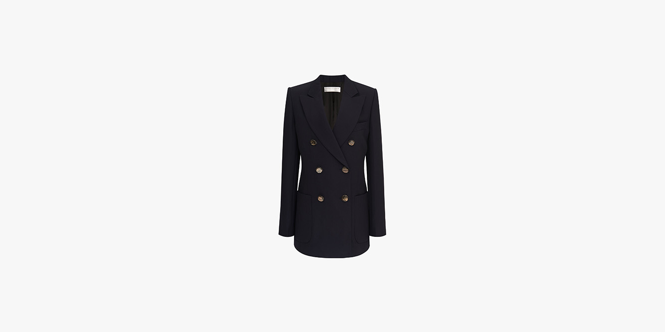 Victoria Beckham Double-Breasted Tuxedo Jacket In Navy