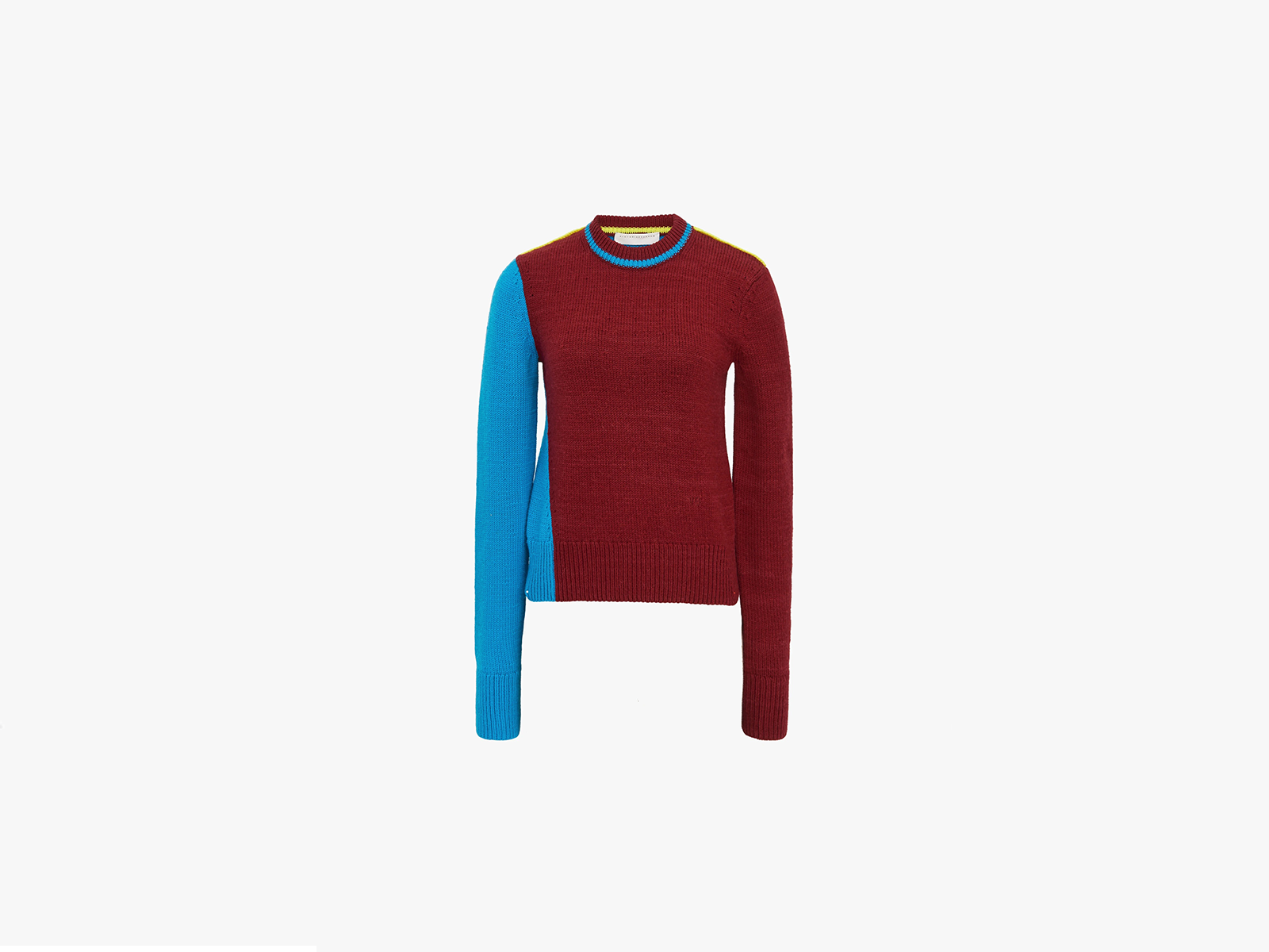 Victoria Beckham Colour Block Cropped Jumper in Red