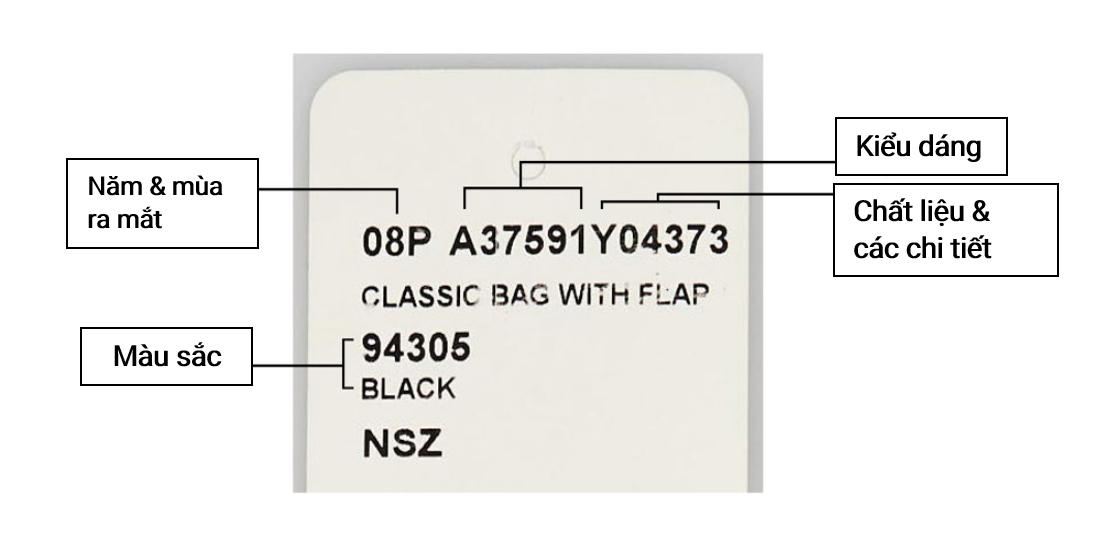 Một chiếc thẻ tag của mẫu túi Chanel 2.55
