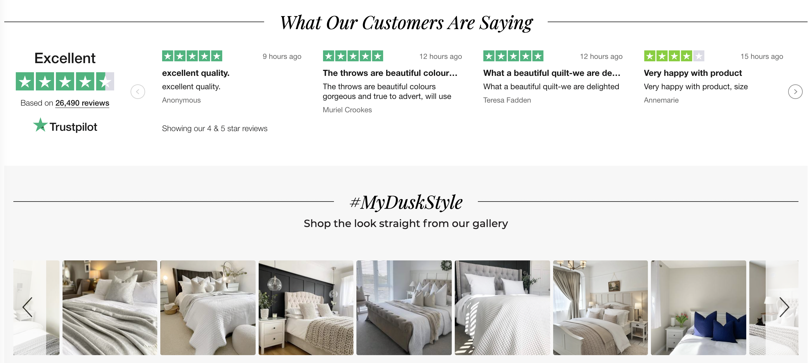 Dusk showcase reviews and user-generated content on their homepage
