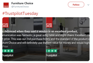 Furniture choice twitter reviews image generator
