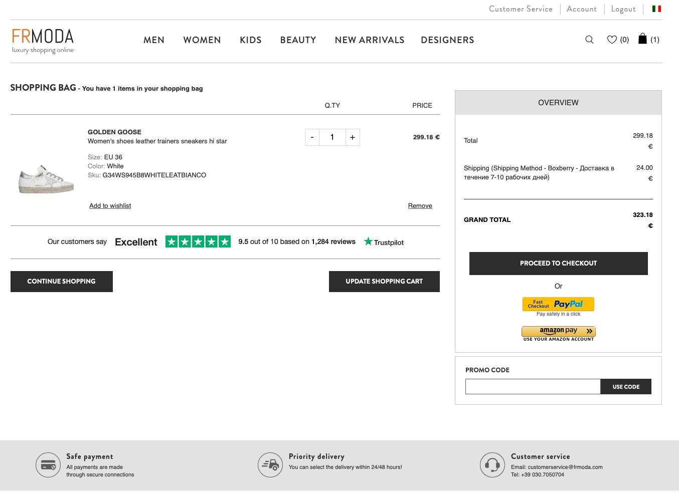 FRMODA - pagina del checkout