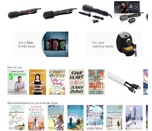 Amazon, personalizzazione, suggerimenti