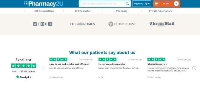 Pharmacy2U Trustpilot review carousel