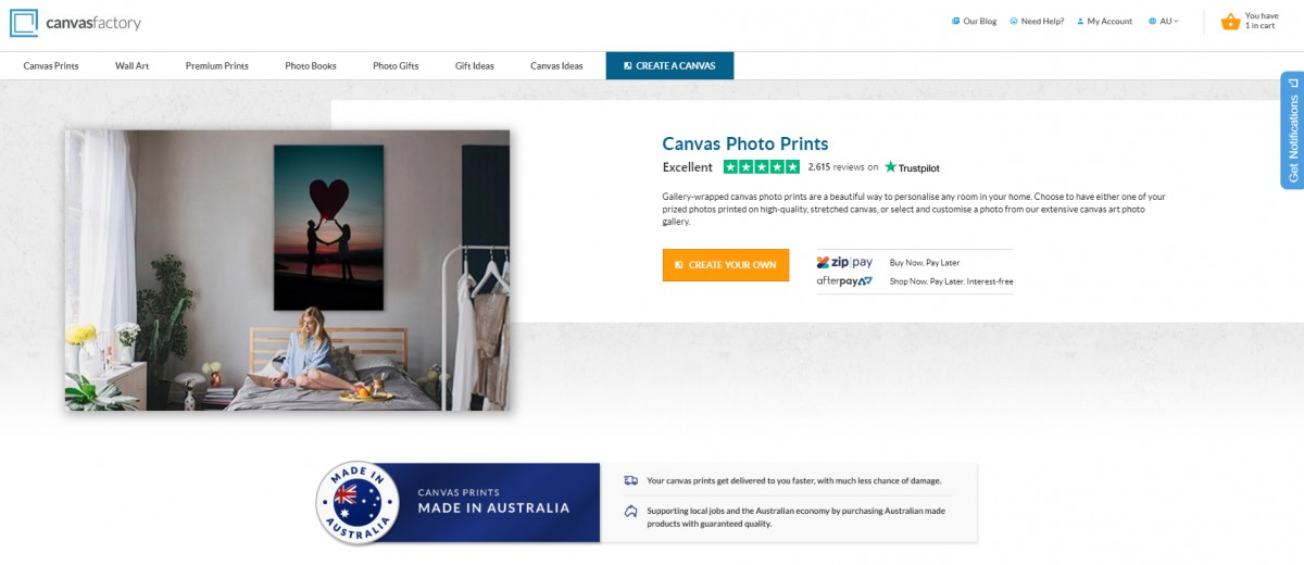 Canvas Factory customer reviews on product pages