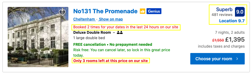 Booking.com using live data as social proof