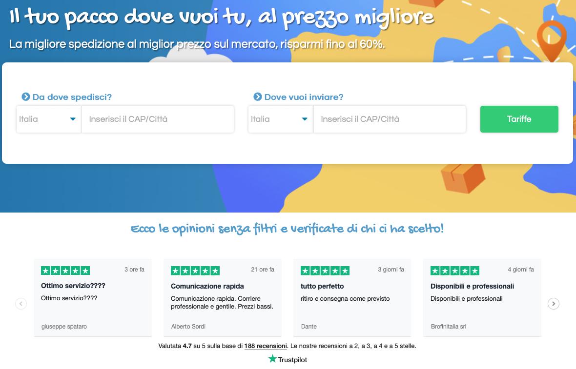 Esempio di widget TrustBox che mostra le recensioni direttamente sulla home page di Spediscimi.li