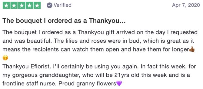 The bouquet I ordered as a Thankyou…