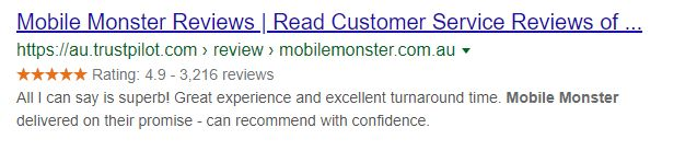 Mobile Monster's Rich Snippets on their Trustpilot profile page