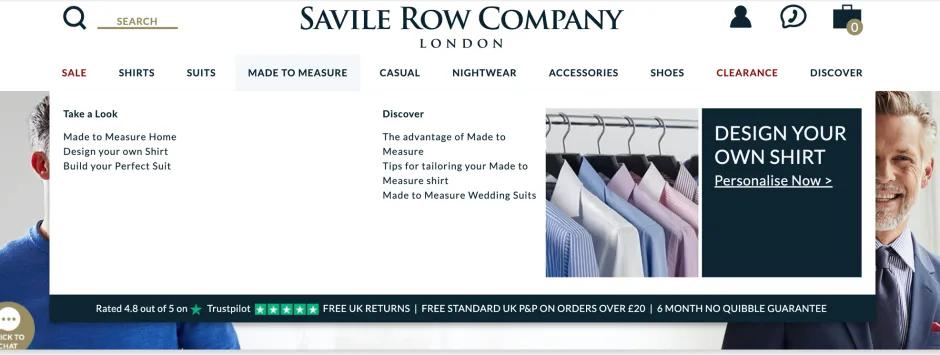 Die Website der Savile Row Company stellt ihre Trustpilot-Sternebewertung zur Schau. Unsere Umfrage ergab, dass Bewertungen zusammen mit der Mundpropaganda zu den vertrauenswürdigsten Informationsquellen zählen.