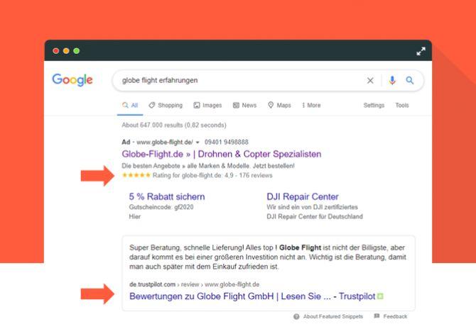 Globe Flight glänzt in der Google-Suche mit Trustpilot-Sternen