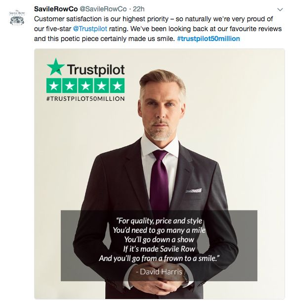 Savile Row Trustpilot review
