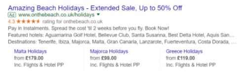 Beispiel: Anzeige mit Google-Verkäuferbewertung