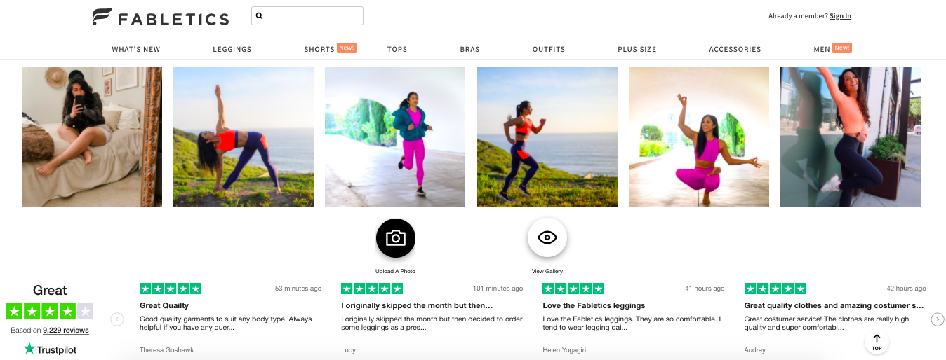 fabletics online reviews homepage