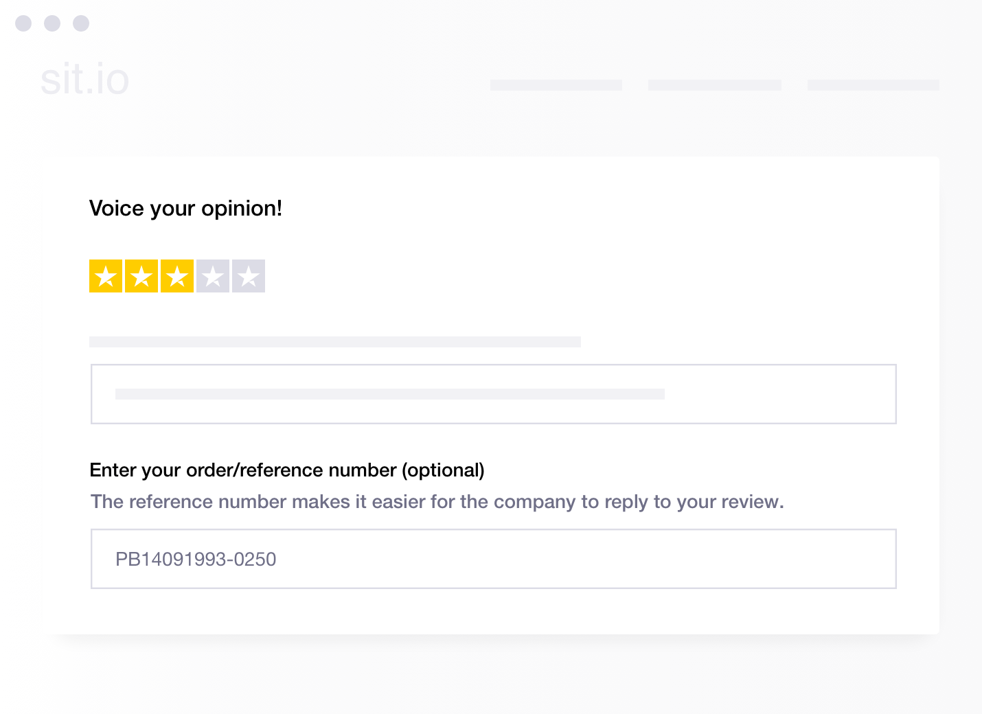 Illustration of Trustpilot's functionality to request an order or reference number from a reviewer