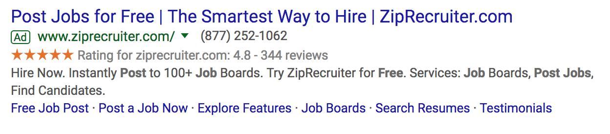 Rich Snippet Stars ZipRecruiter