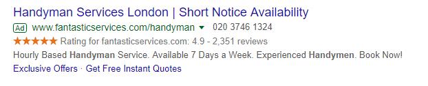 Fantastic services google seller ratings