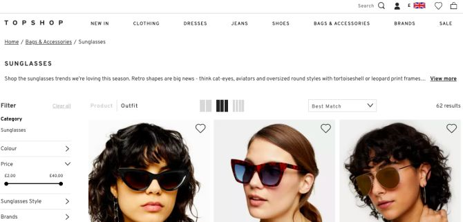 Topshop's search bar (top right) allows you to find any product you want, faster