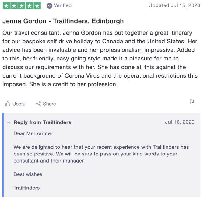 Jenna Gordon - Trailfinders, Edinburgh