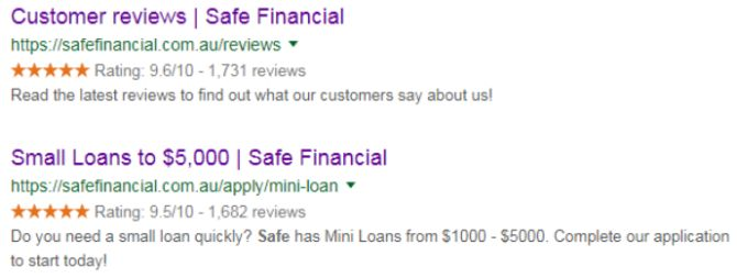 Safe Financial rich snippets