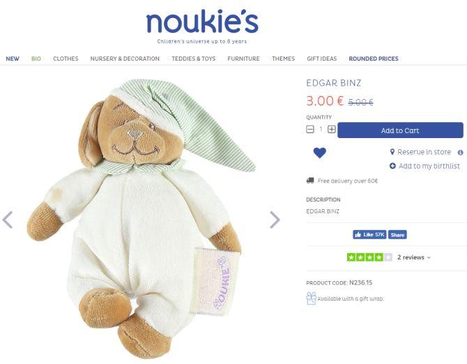 Screenshot einer Produktseite von Noukie's mit Trustpilot-Bewertungen