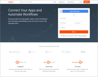 screenshot zapier website 700x550